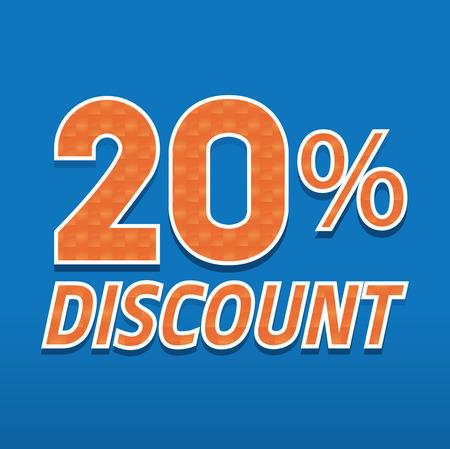 twenty: typography design twenty percent discount with orange mosaic decoration on blue background Illustration