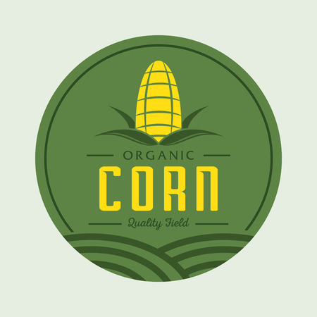 corn field: corn logo design with corn field element in green and yellow
