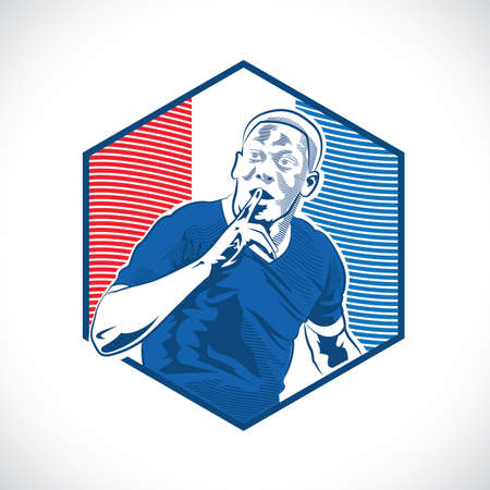 shut up: france footballer in shut up action with national flag background Illustration