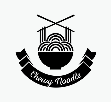 chewy noodle in bowl logo design with chopstick crossed