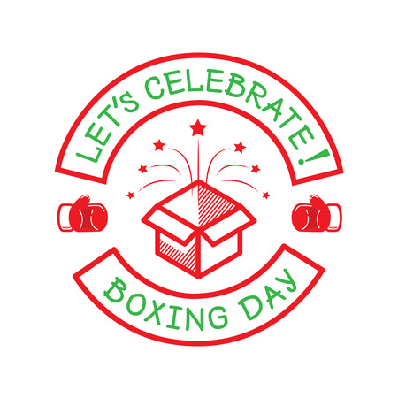 boxing day: boxing day logo with box for new year holiday
