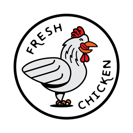 raw chicken: fresh chicken logo with hen stick out tongue illustration in round shape