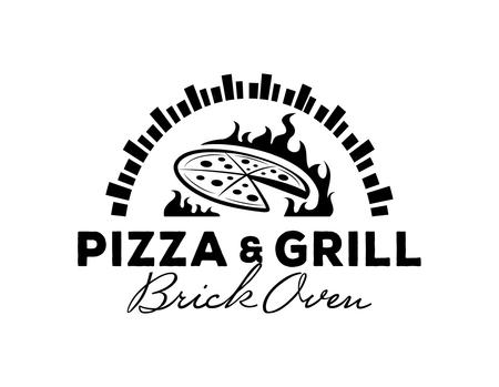 ホットれんが造りのオーブンでピザ ・ グリルのロゴ