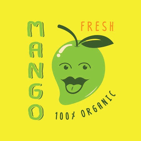 fresh mango colorful illustration with green mango smile with big tounge