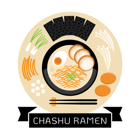 chashu ramen illustration with noodle,soup,slice pork and seaweed