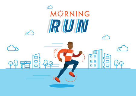 black man run in the morning illustration with sun and  line building background Ilustracja