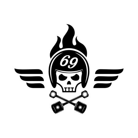 skull with helmet on fire logo design for garage with wing ,rod,piston icon Illusztráció