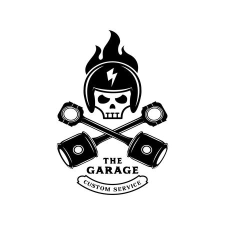 thunder bolt graphic helmet on fire on skull with piston logo design for garage service