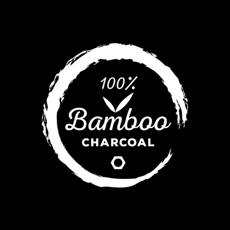 Guarantee one hundred bamboo charcoal with bamboo leaf round brush stroke surround Ilustração