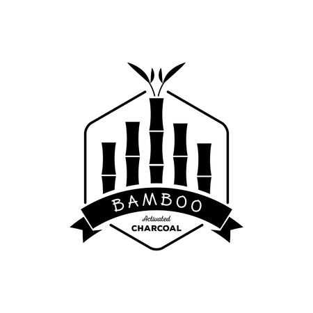 absorb: bamboo activated charcoal with bamboo tree in hexagonal shape and bamboo leaf logo design
