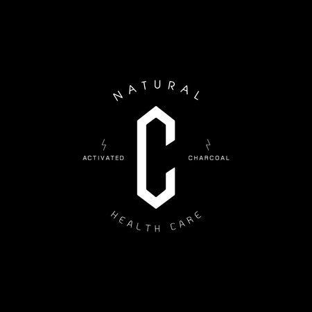 Letter C hexagonal shaped natural activated charcoal logo design