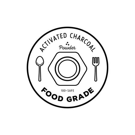 polvere di carbone attivo in polvere garanzia di qualità alimentare logo con cucchiaio e forchetta icona