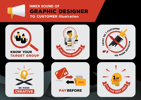 suono interno del graphic designer per il cliente con illustrazione creativa del disegno