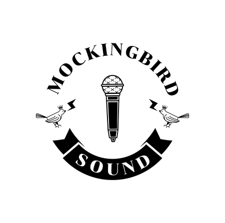 mockingbird sound logo design with microphone illustration Illustration