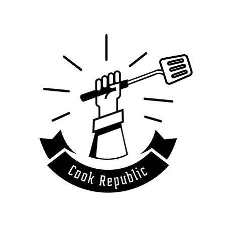 cook republic logo design with turner illustration Illustration