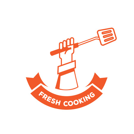 A fresh cooking logo design with hand hold turner Illustration