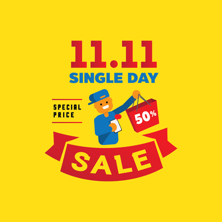 Colorful chinese single day sale illustration with one human hand hold shopping bag