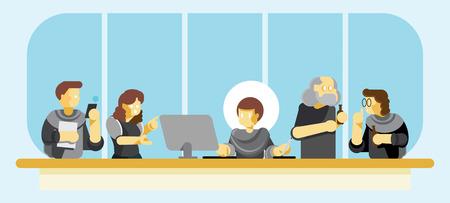 revisione dell'opera d'arte della conferenza con graphic designer, cliente, account executive dell'area di lavoro in ufficio Vettoriali