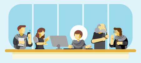 conference artwork revision with graphic designer,customer,account executive on workspace in office Illustration