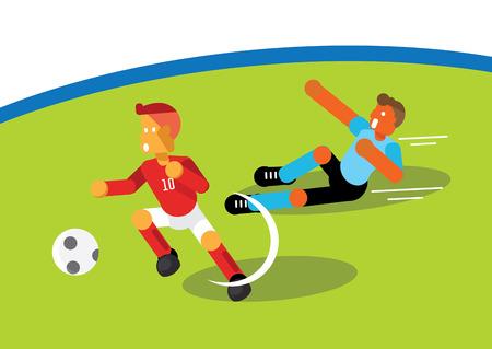 Red team soccer player dribbling ball escape light blue team
