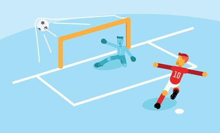 Numer dziesięć piłkarz strzelający gola karnego podczas meczu.