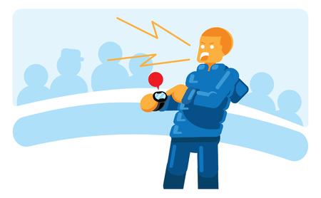 campo de fútbol del lado del reloj del futbolista del punto del amaestrador durante la ilustración del vector del partido Ilustración de vector