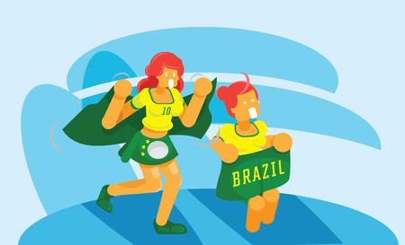 Brazil girls group fans cheering in stadium vector illustration