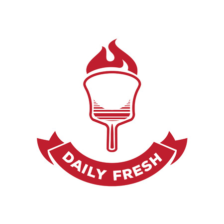 Daily fresh pizza logo design with fire on wood board vector illustration Illustration