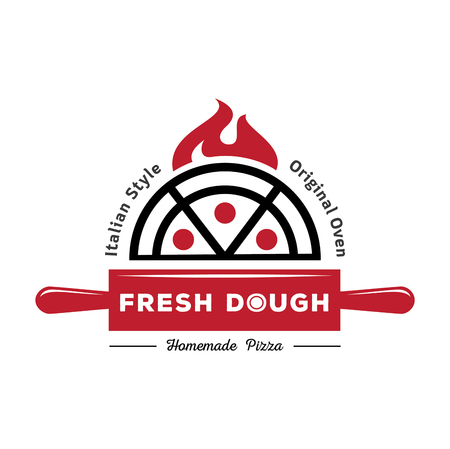 Fresh dough pizza logo with red rolling pin and pizza on fire vector illustration
