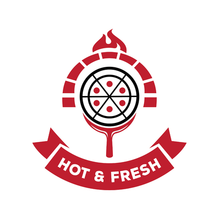 hot and fresh pizza from brick stove with fire logo design vector illustration