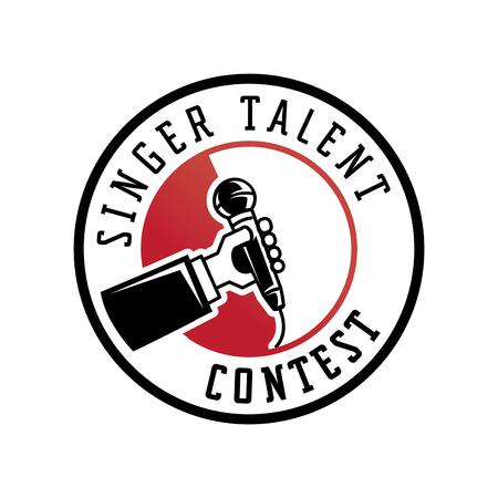 singer talent contest logo with hand held microphone illustration Illustration