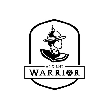 lord of Thai ancient warrior logo design with man in Thai warrior suit