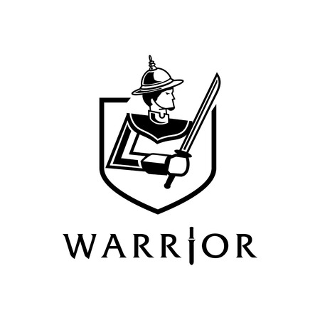 lord of Thai ancient warrior with sword logo design  Illustration