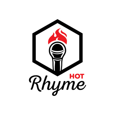 Hot rhyme logo design with microphone on fire illustration.