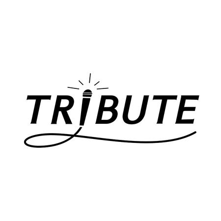 elegant tribute typography with microphone and swinging wire icon Illusztráció