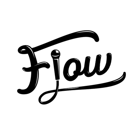 flow hand drawing design with microphone and wire illustration