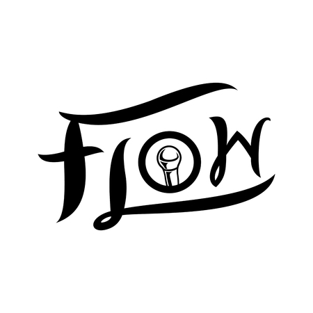 flow typography with microphone logo design