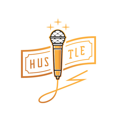 golden microphone with hustle banknote and thunderbolt wire design vector illustration Illustration