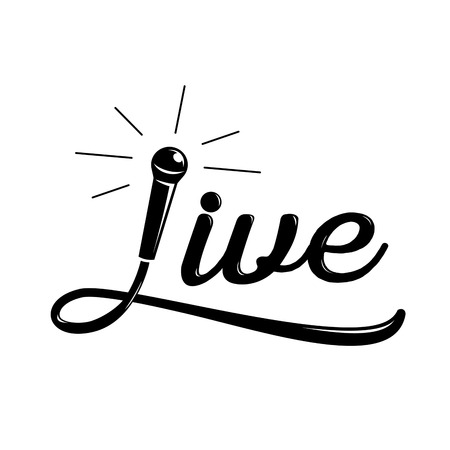 live music calligraphy designmicrophone and wire illustration