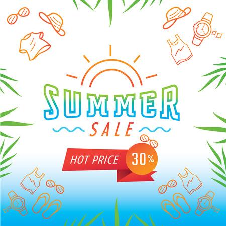 Colorful summer sale illustration