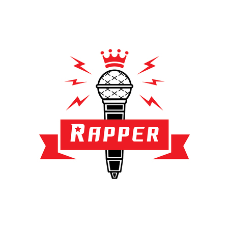 A rapper badge with crown on microphone vector illustration