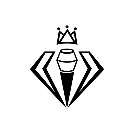 minimal crown on diamond singer with microphone  icon design in black  Illustration