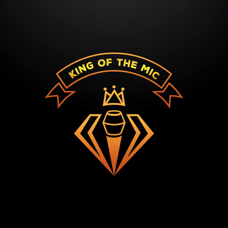golden king of the mic elegant badge design with microphone,crown,diamond Ilustrace