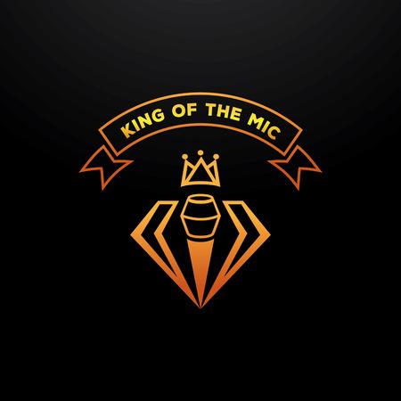 golden king of the mic elegant badge design with microphone,crown,diamond Ilustração