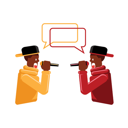colorful two black men red and yellow suit with cap rapper faced rap battle flat vector illustration Ilustracja