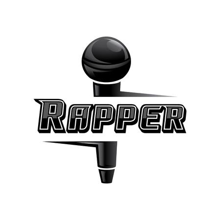 rapper word design with black elegant microphone vector illustration
