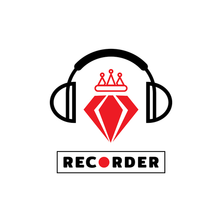 outline crown on red diamond with headphone icon design vector illustration Ilustracja