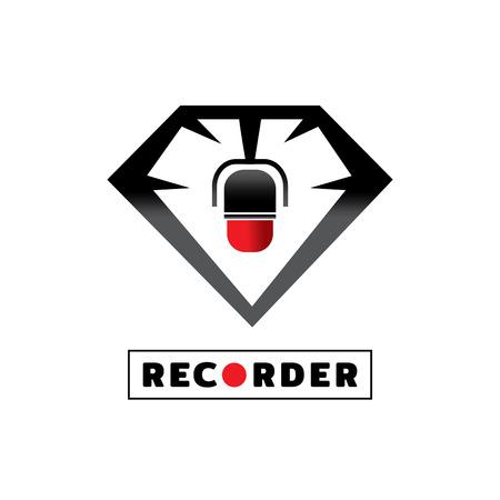 round microphone recorder with diamond icon design vector illustration