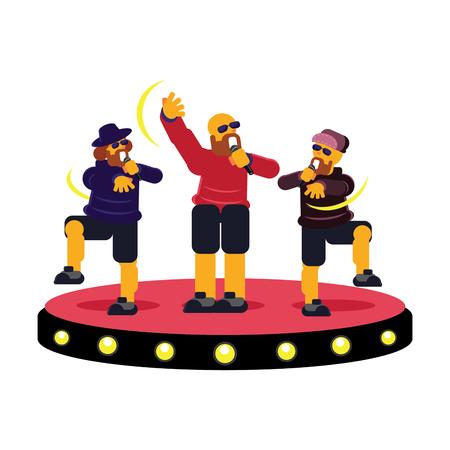 Colorful trio group rapper on stage in concert vector illustration Ilustração