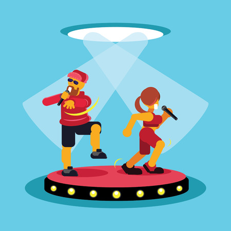 man and lady duo singers singing on stage in concert colorful vector flat illustration.